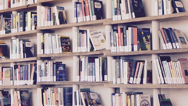 encourage children to read books on shelves